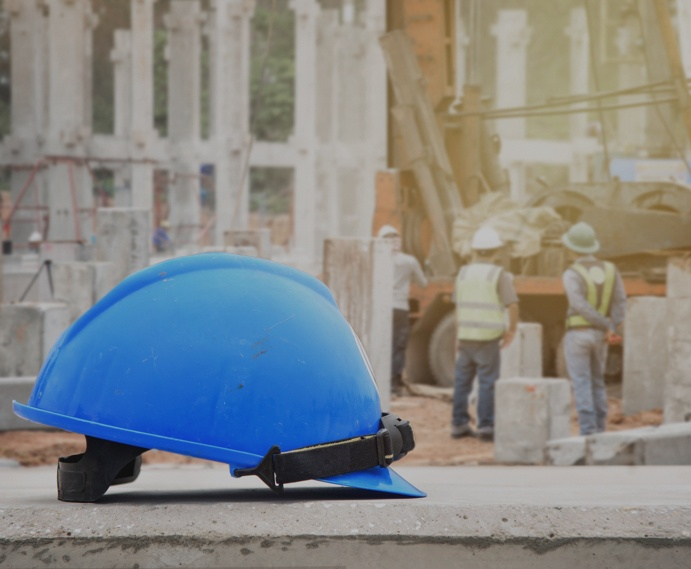 blue construction hat