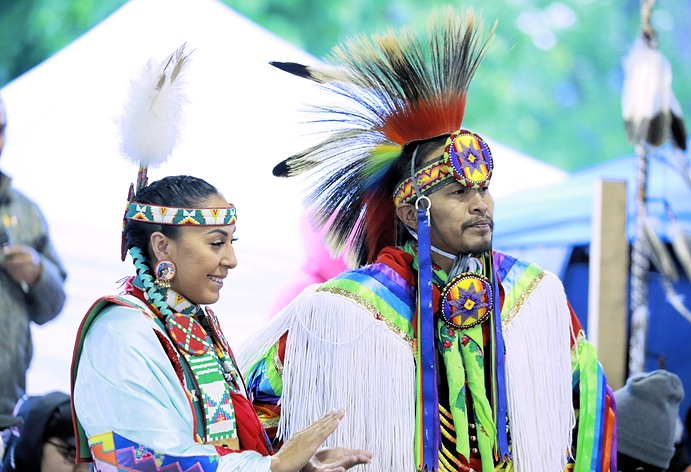 Native Man and Woman in Powwow Attire