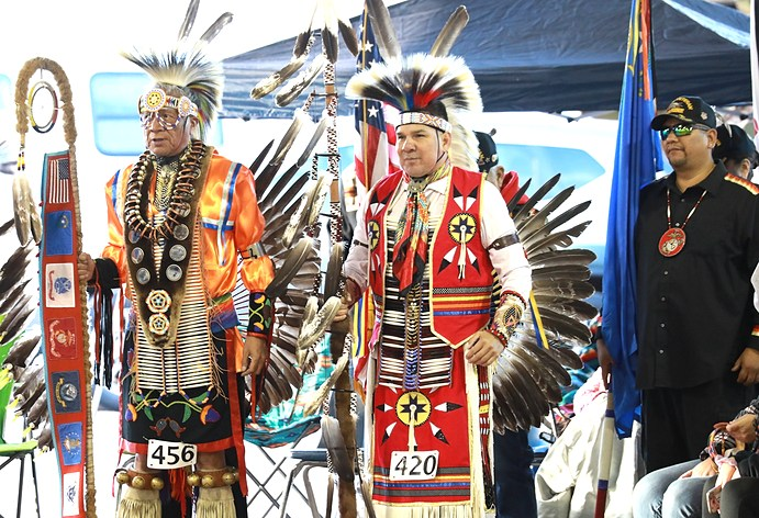 two Native Elders in Powwow attire